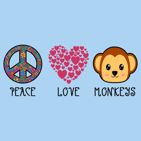 Peace Love Monkeys - Kids' Unisex T-Shirt