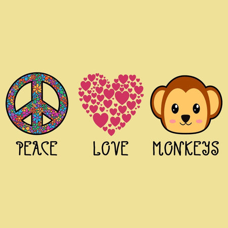 Peace Love Monkeys - Adult Unisex T-Shirt