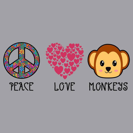 Peace Love Monkeys - Kids' Unisex Hoodie Sweatshirt