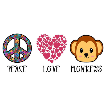 Peace Love Monkeys - Women's Fitted T-Shirt