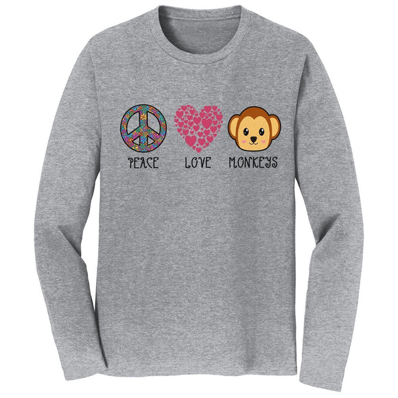 Peace Love Monkeys - Adult Unisex Long Sleeve T-Shirt