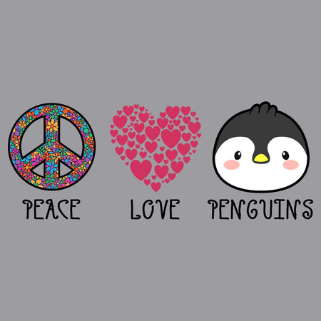Peace Love Penguins - Adult Unisex Long Sleeve T-Shirt