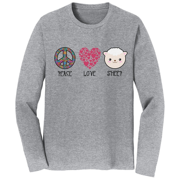 Peace Love Sheep - Adult Unisex Long Sleeve T-Shirt