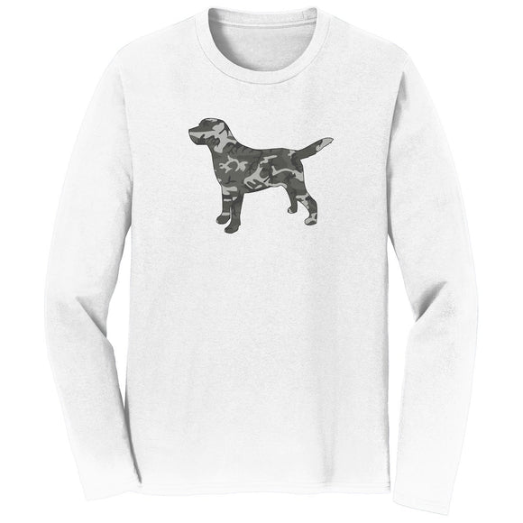 WCLRR - Labrador Silhouette Winter Camouflage - Adult Unisex Long Sleeve T-Shirt