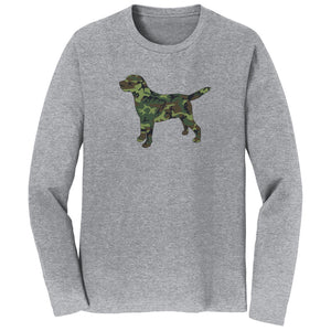 WCLRR - Labrador Silhouette Woodland Camouflage - Adult Unisex Long Sleeve T-Shirt