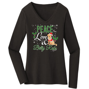WCLRR - Peace Love and Belly Rubs - Women's V-Neck Long Sleeve T-Shirt