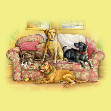Four Labs on the Couch - Women's Fitted T-Shirt