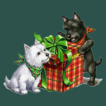 Westie and Scottie Christmas - Women's Fitted T-Shirt