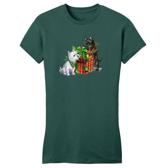 Parker Paws Store - Westie and Scottie Christmas - Women's Fitted T-Shirt