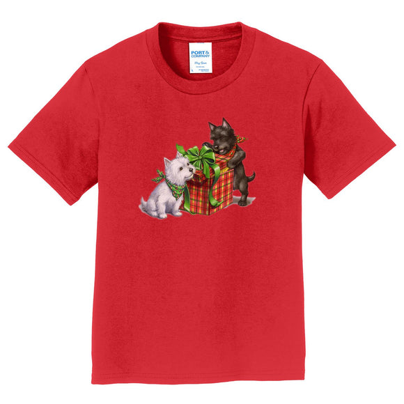 Parker Paws Store - Westie and Scottie Christmas - Kids' Unisex T-Shirt