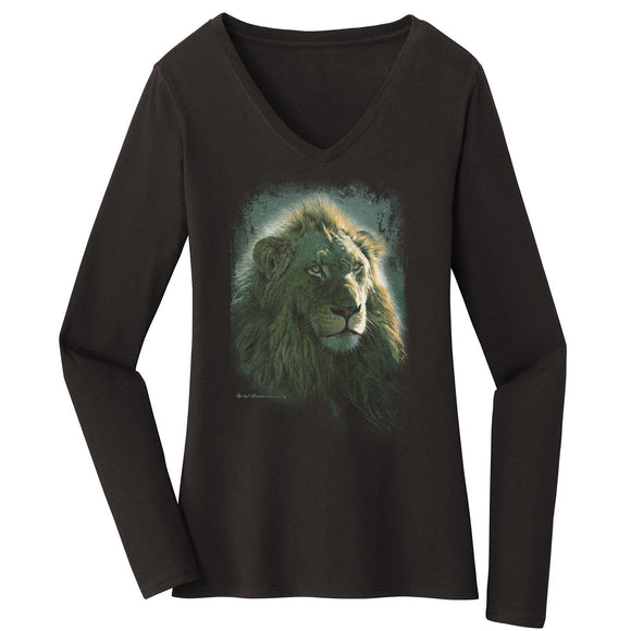 Hunter's Moon - Women's V-Neck Long Sleeve T-Shirt