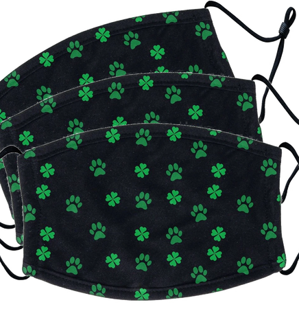 3 PACK Scattered Shamrock Paw Pattern - Adult Adjustable Face Mask
