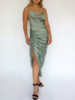 Open image in slideshow, Sage Midi Satin Dress
