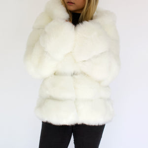 Open image in slideshow, White Vegan Fur Jacket