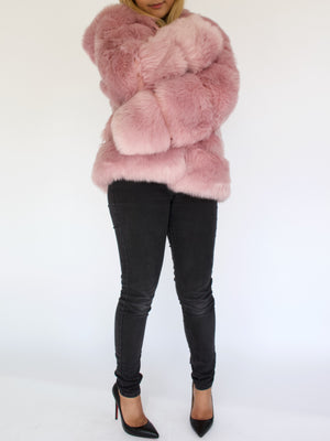 Pink Vegan Fur Jacket