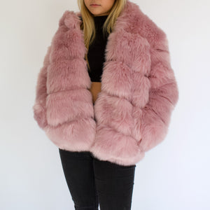 Open image in slideshow, Pink Vegan Fur Jacket