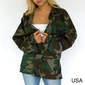 Open image in slideshow, Vintage Camo Military Jacket