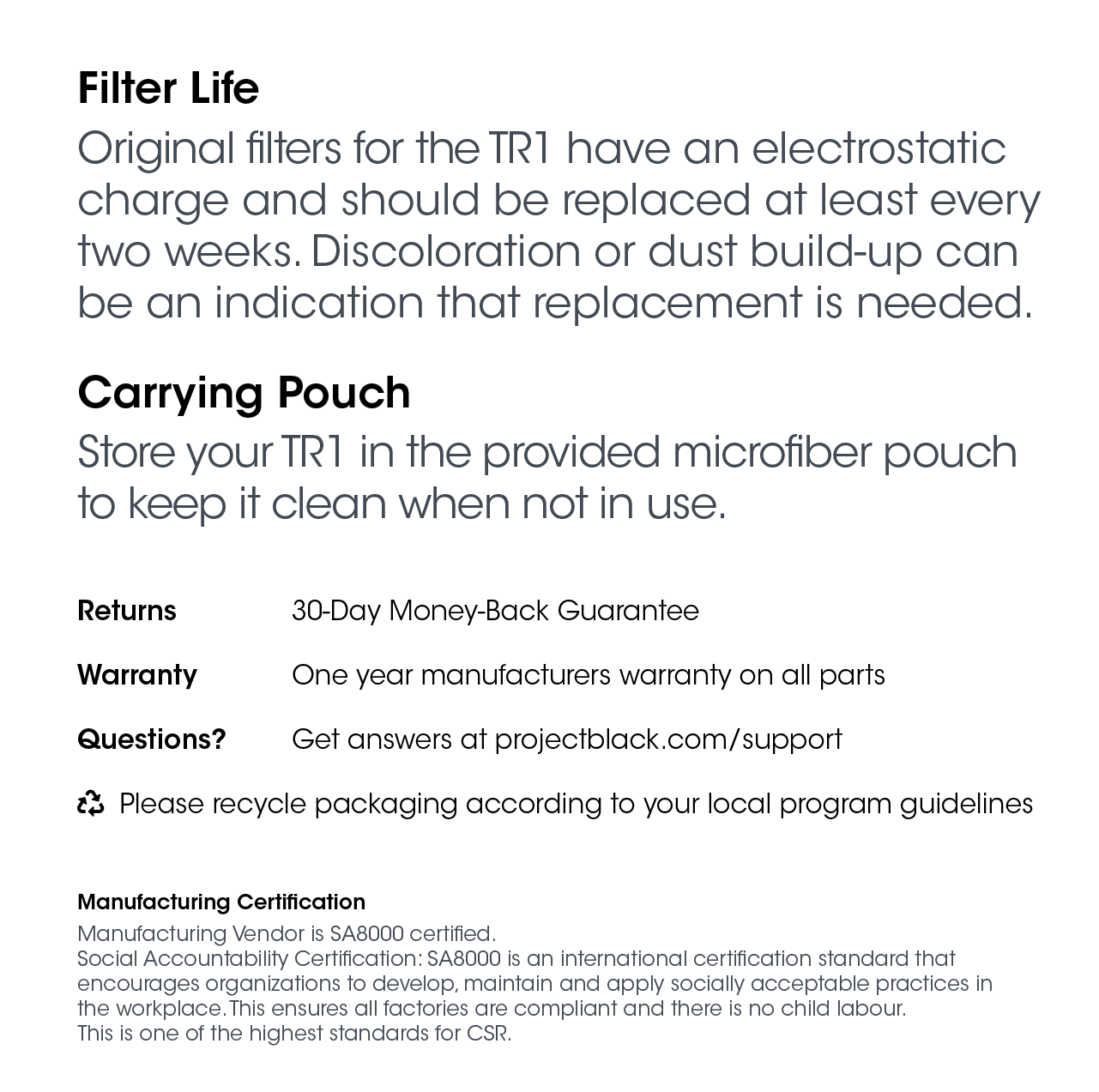 Filter information page of the TR1 manual.