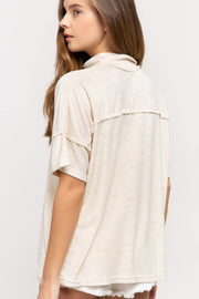 Terry Cloth Top with Mock Neck