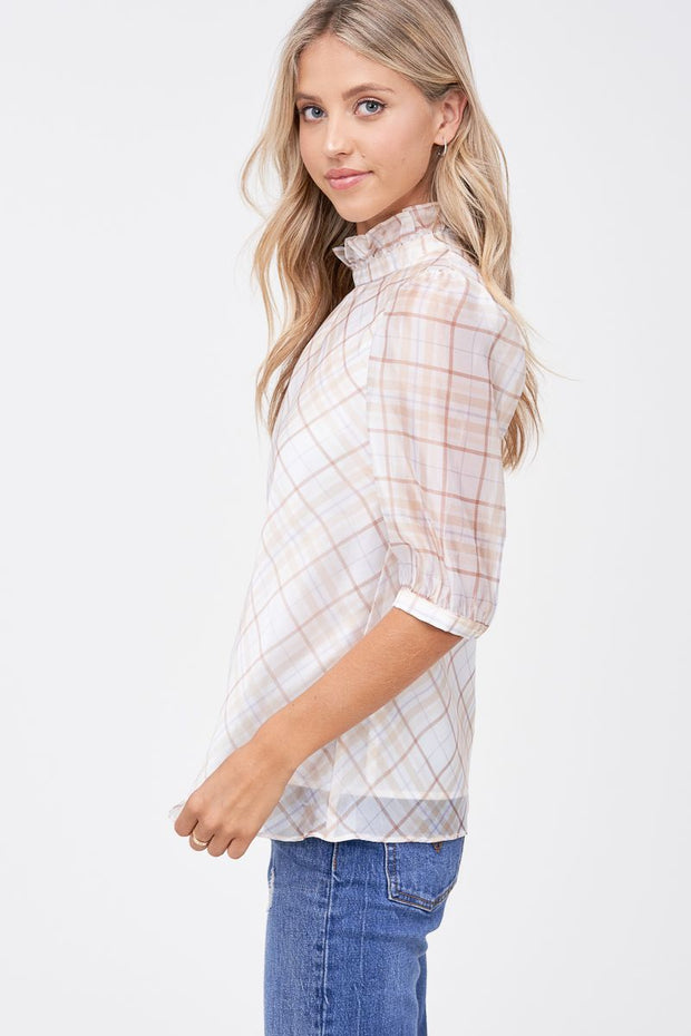 Plaid Organza Blouse