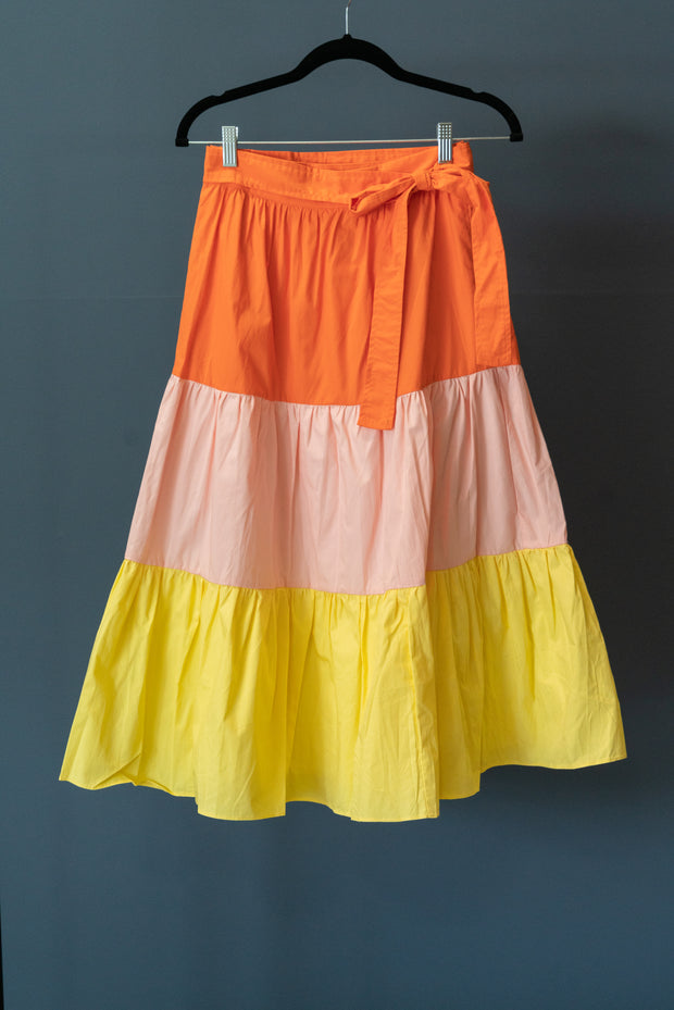 Color Block Shirring Skirt