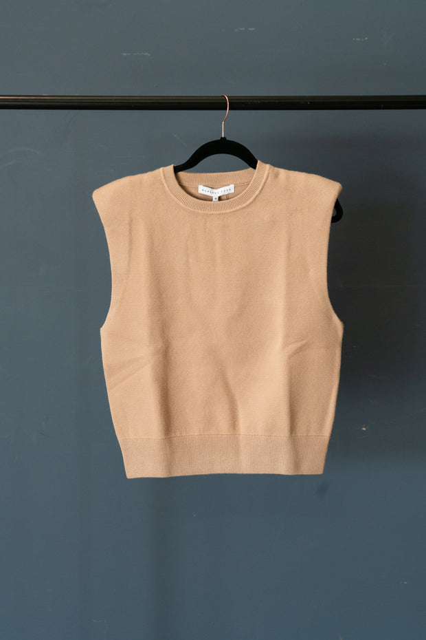 Shoulder Padded Knit Top