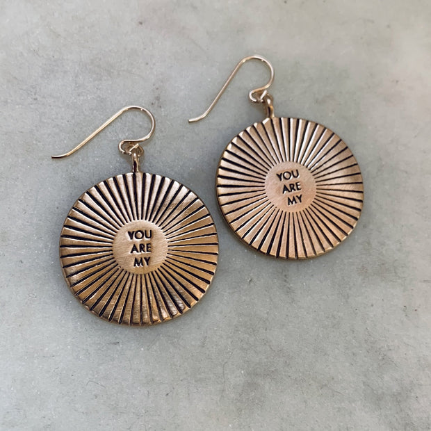 Large You Are My Sunshine Earrings - Bronze