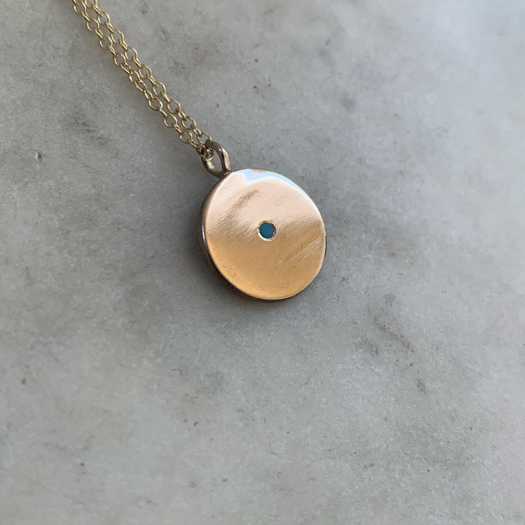Minimal Circle Turquoise Necklace 18""