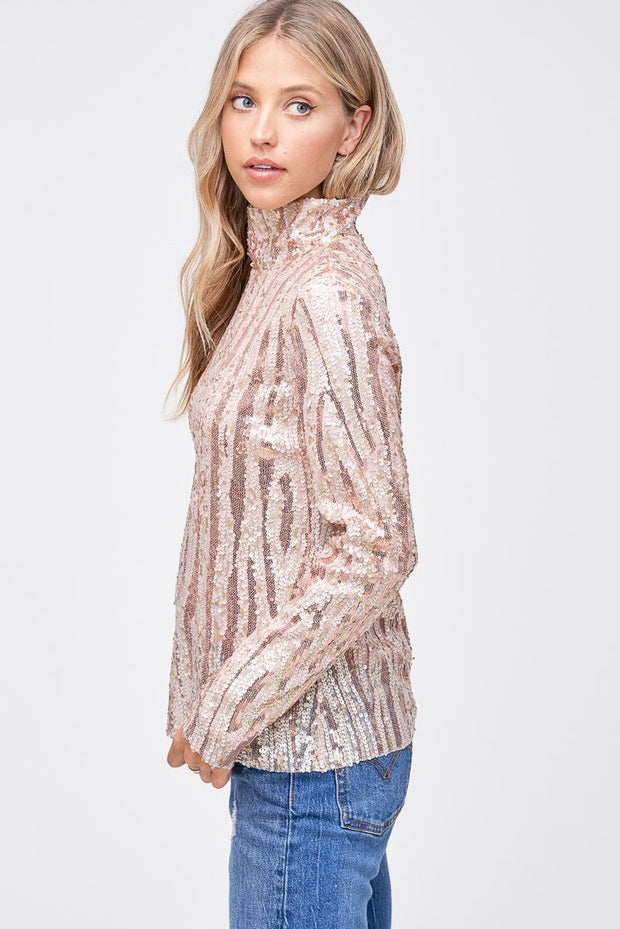 Elayne Sequin Mock Neck Top