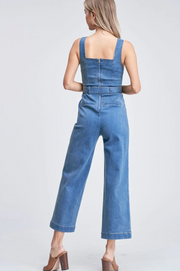 Denim Jumpsuit with Tie