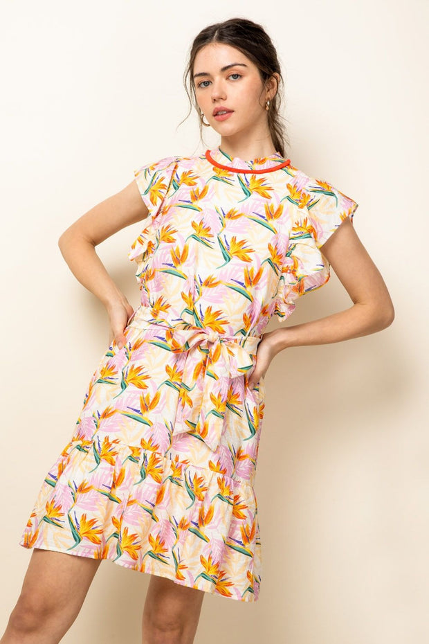 Flutter Slv Print Dress
