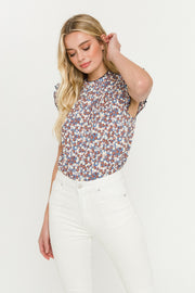 Floral Contrast Stitch Top