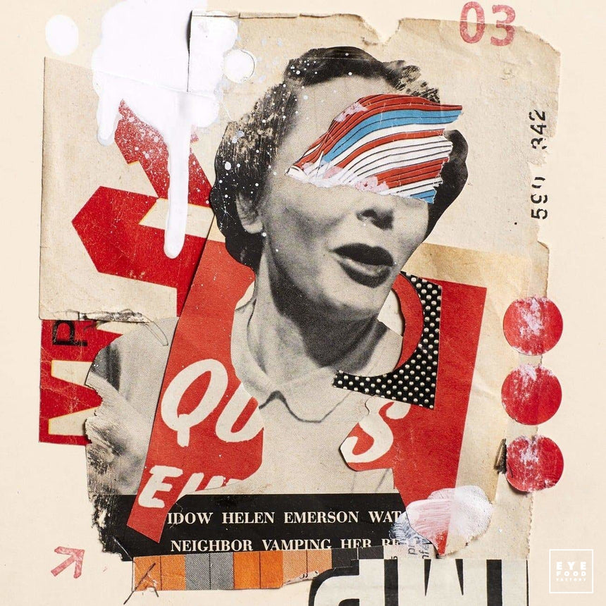 Angry girl - Éditions Limitées - @trio130130, Collage, Dibond®, Femme, Helen