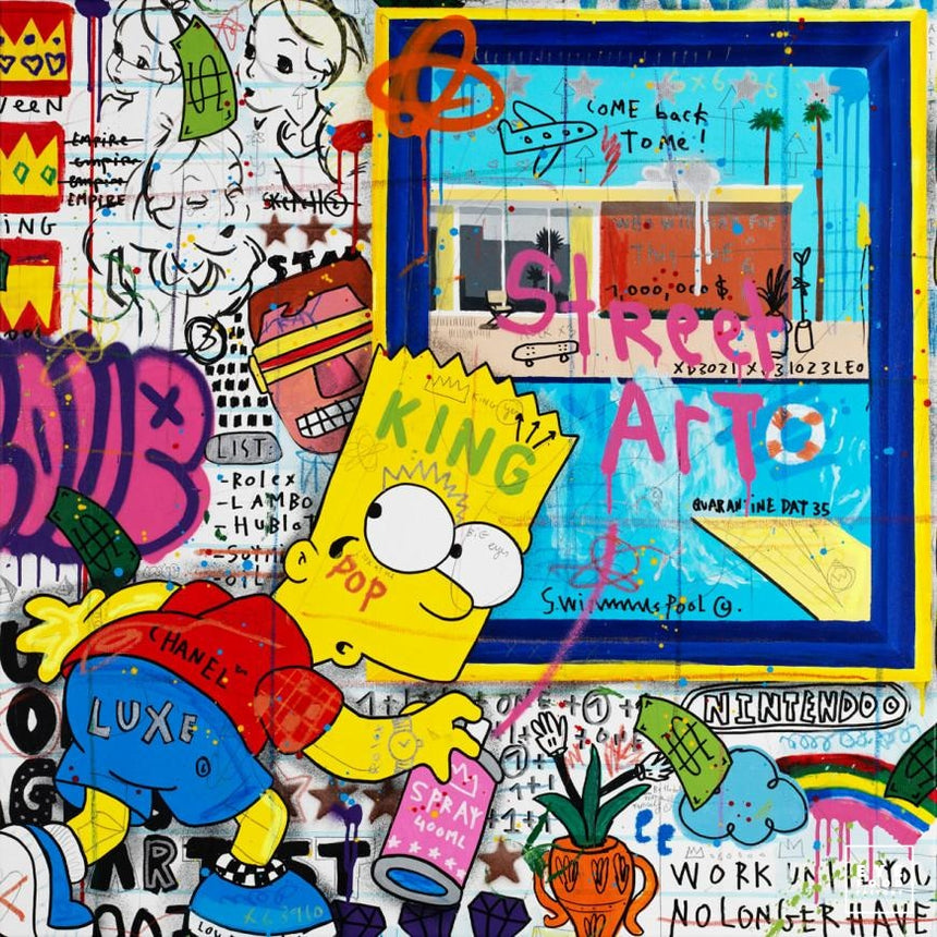 Bart at the Museum - Éditions Limitées - 100x100cm, 40x40cm, Bender, Bleu,