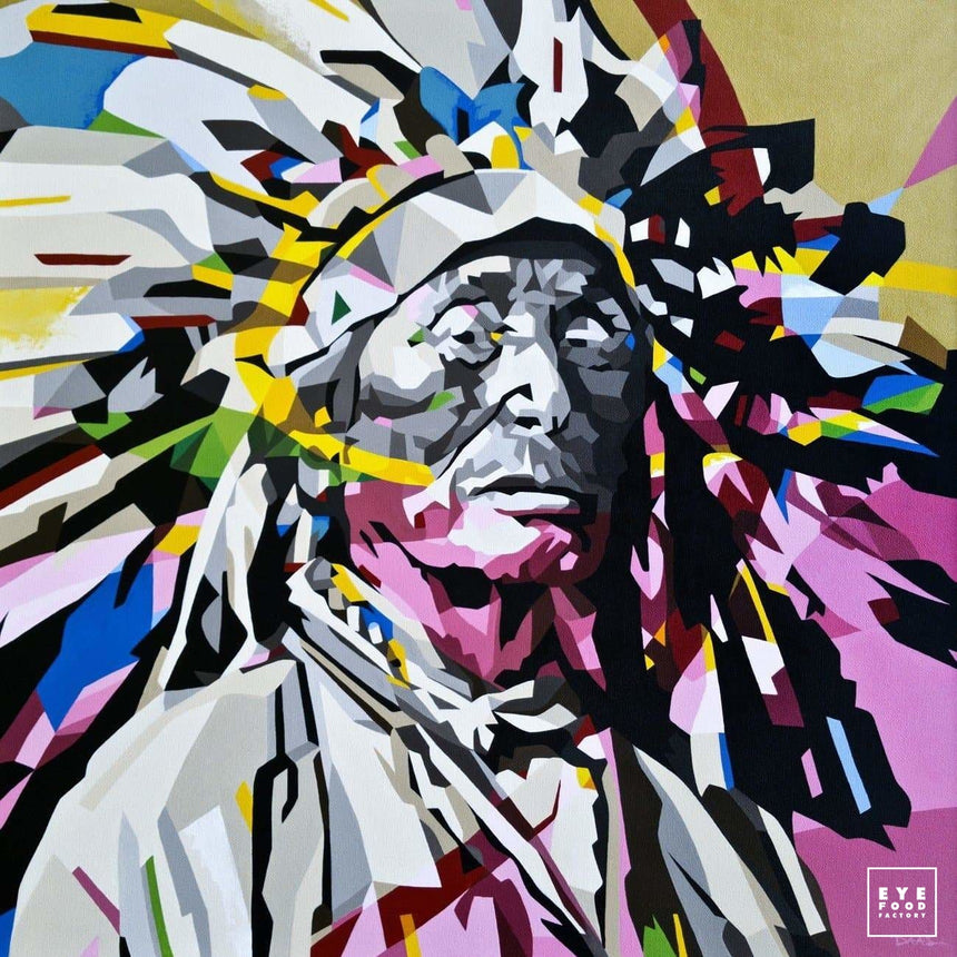 Chief - Éditions Limitées - 100x100cm, 40x40cm, Dibond®, Far West, Indien