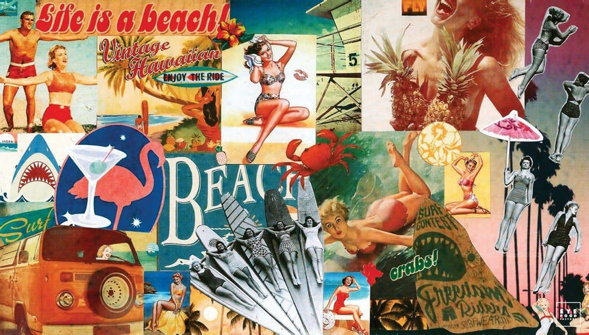 Life is a beach - Éditions Limitées - 140x80cm, Bikini, Californie, Collage,