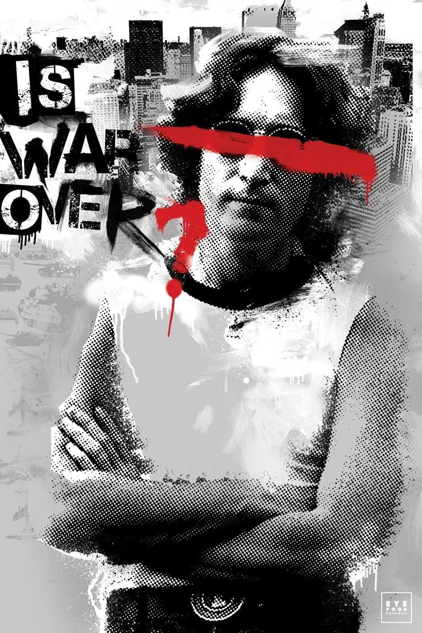 War is Over - Éditions Limitées - 120x80cm, 60x40cm, Blanc, Chanteur, Collage