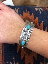 Load image into Gallery viewer, Stamped Silver Turquoise Cuff