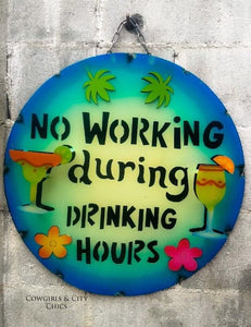 Small No Drinking Hours Metal Sign