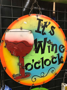Wine O Clock Metal Sign