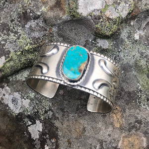 Stamped Kingman Turquoise Cuff