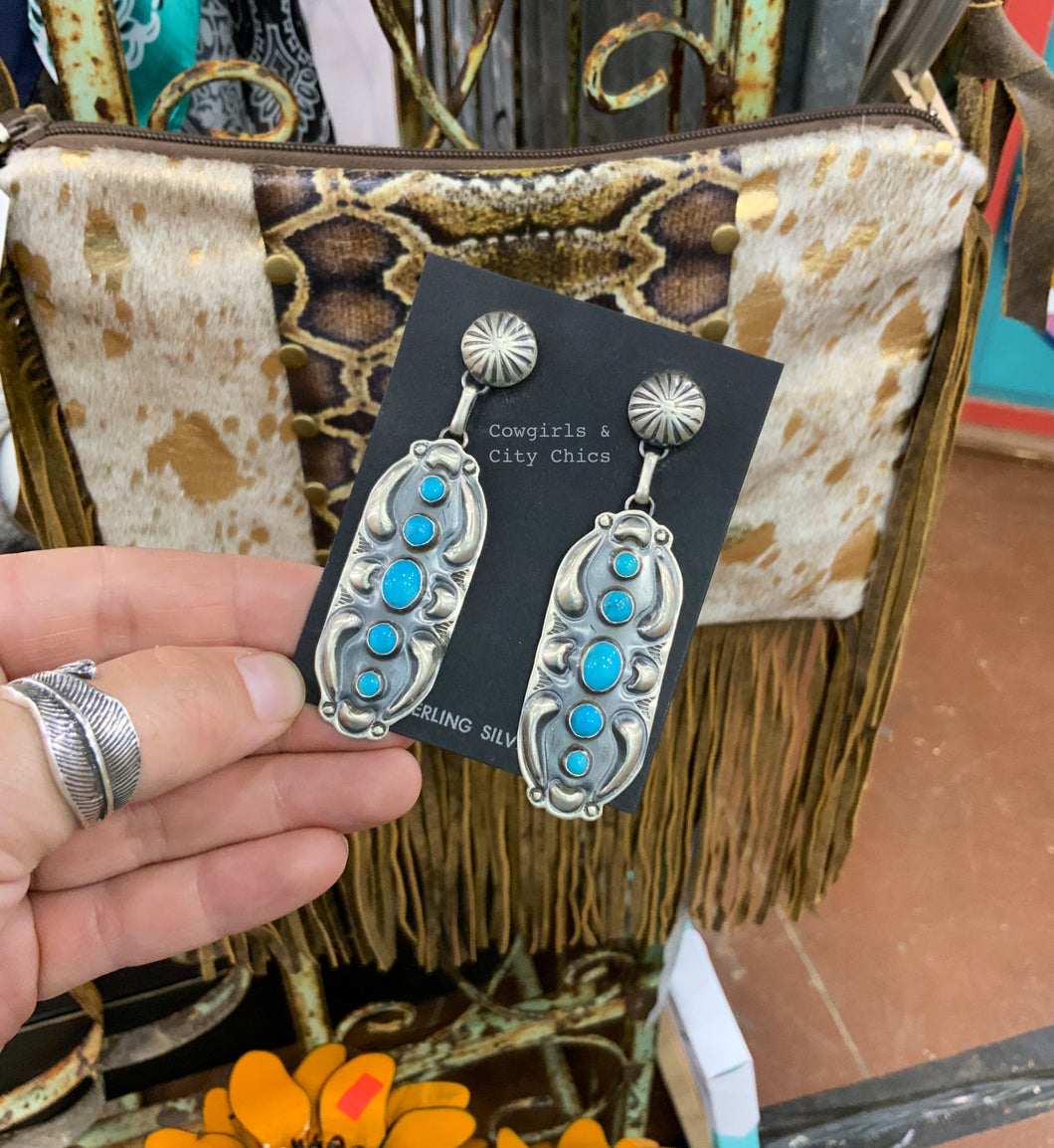 Turquoise Post Drop Earrings