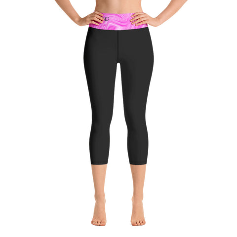 Pink Seas (Without Pockets) Yoga Capri Leggings