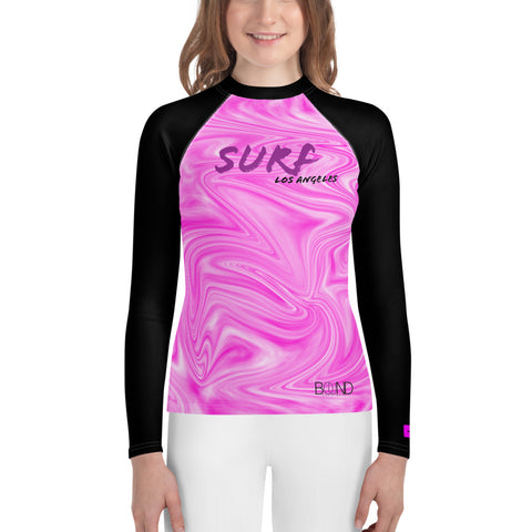Haya Surfs! LA (Pink Swirl/Black) Youth Rash Guard