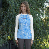 Jenny Surfs! (Blue Swirl/Tropical Blue) Women's Rash Guard