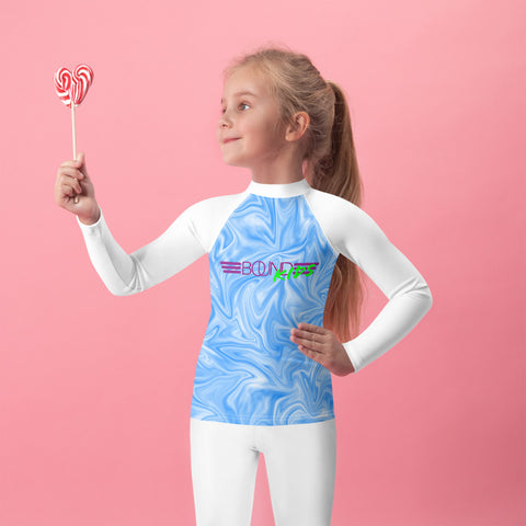 BOUND Kids! Charli Surfs! (Blue Swirl/White) - Kid's Rash Guard