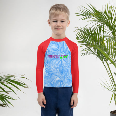 BOUND Kids! Leo Surfs! (Blue Swirl/Red) - Kid's Rash Guard