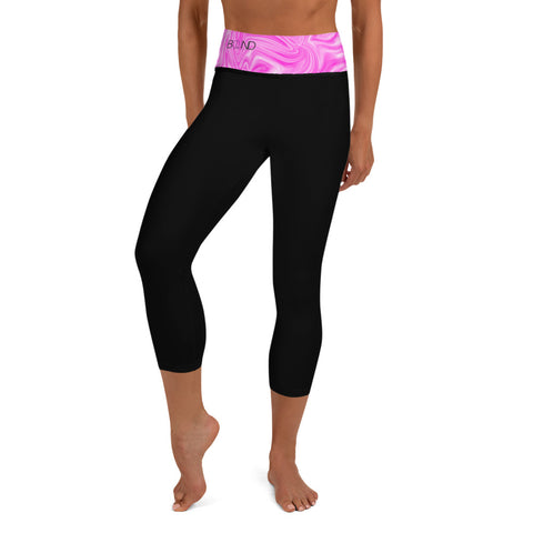Pink Seas (With Pocket) Yoga Capri Leggings