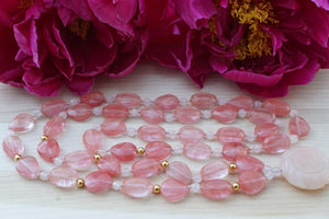Pink Quartz and Gold Serenity Necklace