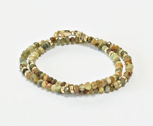 Green Garnet and Gold Wrap Bracelet